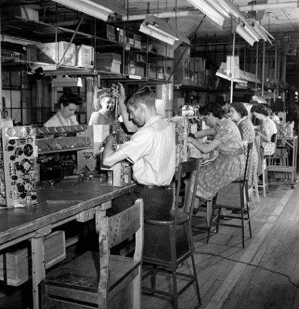 Workers on a production line.